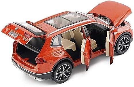 SUV ni/ños Puerta de Coche de Juguete se Puede Abrir con Efectos de Sonido Luces De fundici/ón de aleaci/ón Modelo de Coche de la simulaci/ón 1:32 Ti-Guan L Color : Orange