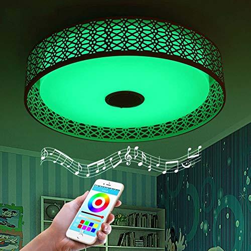 WFL-lighting RGB LED Luz de techo Cambio de color con control remoto con altavoz Bluetooth Dimmable6500K 3000LM LED Smart Music Lámpara de techo vivero, luces de techo blanco cálido WFL P