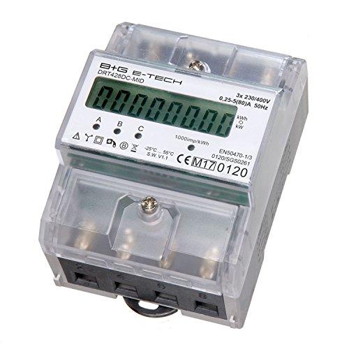 B+G e-tech DRT428DC-MID - LCD digitaler Drehstromzähler Stromzähler MID GEEICHT/BEGLAUBIGT 5(80) A mit S0 Interface für DIN Hutschiene