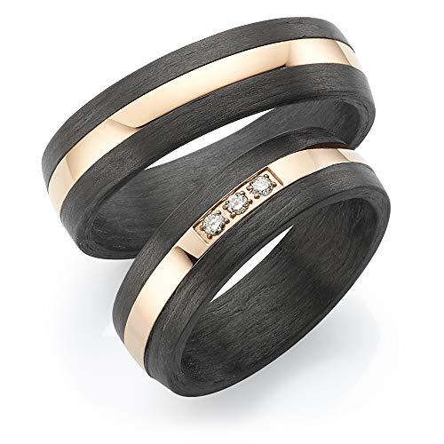 ***AKTIONSPREIS*** 123traumringe 2x Trauringe/Eheringe Titan-Rosé/Carbon in Juwelier-Qualität (Brillant/Gravur/Ringmaßband/Etui)