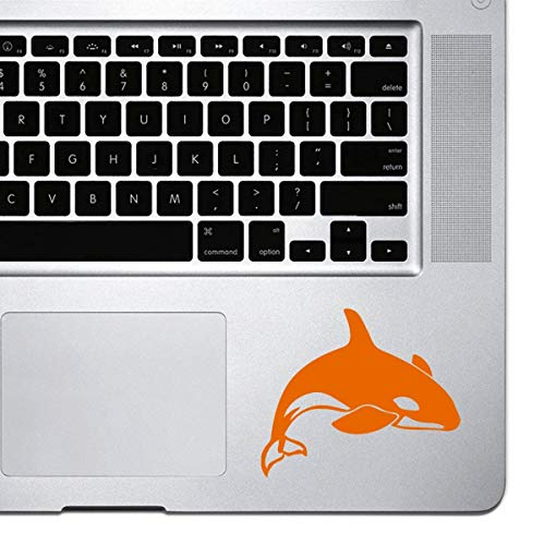DKISEE Decal Sticker Laptop Vinyl Decal Killer Whale Sticker for Macbook Pro, Chromebook, and Laptops Orange 6 inch Onecolor