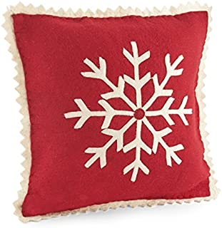 ARCADIA HOME PFSN2 Big Snowflake Pillow Cover in Hand Felted Wool, Red