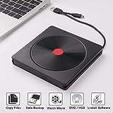 External CD DVD Drive USB 3.0 Type C Drive Portable CD DVD Drive Slim DVD/CD ROM Compatible for Laptop Desktop PC Windows Linux OS MacBook (Black)