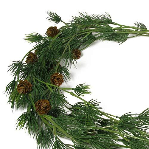 Posiwio Dekozweig Kiefer grün braun künstlicher Kiefernzweig L135cm Deko Weihnachten