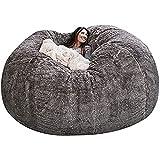 Giant Bean Bag Chair, 7ft Giant Fur Bean Bag Cover Lounger Bean Bag Storage Chair Bean Bag Sofa Chair Soft Fluffy Fur Portable Living Room Lazy Sofa Bed Cover No Filler (Color : Grey)