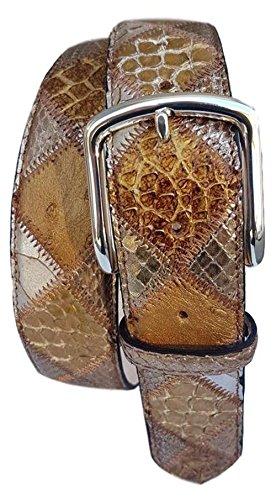 ESPERANTO Cintura 4 cm in Pitone, Struzzo e Pelle Bovina-Unisex (Tg 56- LUNG TOTALE 130 CM-GIROVITA 115 CM)