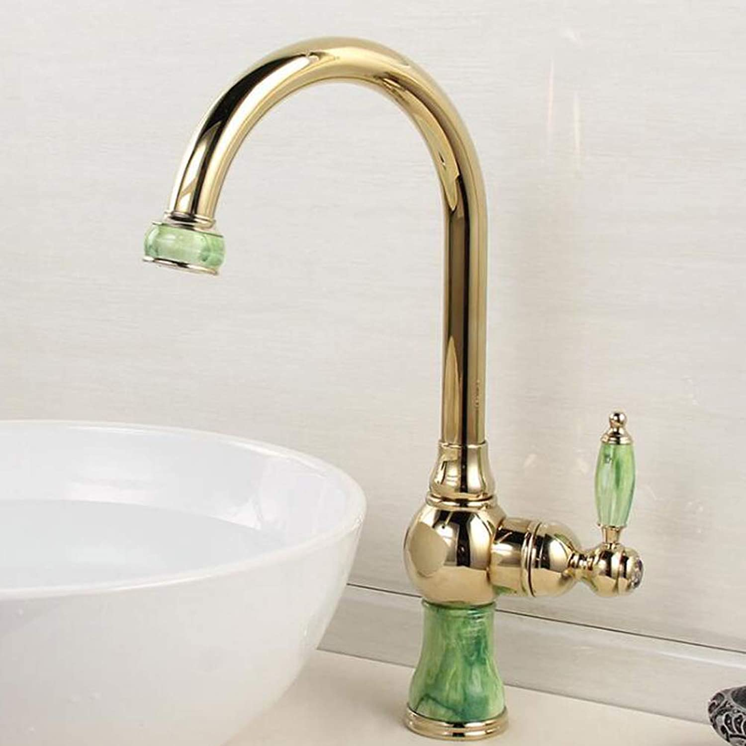BFTAPS 360° Swivel Jade Stone Kitchen Mixer Tap gold-Plated Brass Tall Kitchen Sink Tap Vintage Hot And Cold Water Basin Faucet,goldFaucet