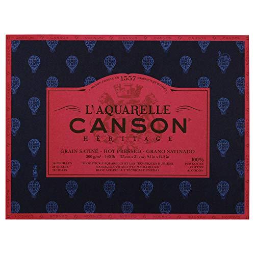 Canson Heritage Watercolour Pad, Sticks, 4 Sides, 20 Sheets, Satin Grain Satin Finish 23 x 31 cm