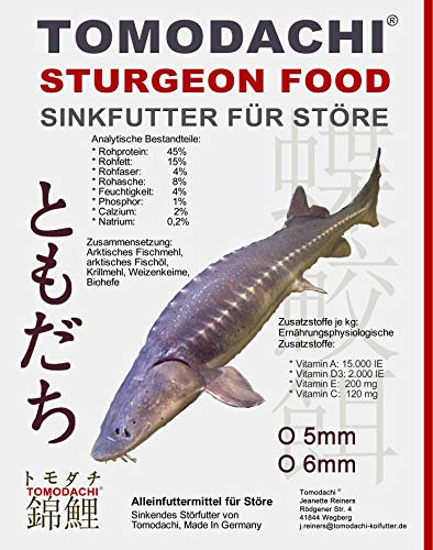 Tomodachi Störfutter energiereich, hochverdaulich, Qualitätsfutter Stör, sinkendes Kraftfutter, Aufzuchtfutter für Störe, ideal für jede Jahreszeit dank arktischer Rohstoffe, Störsinkfutter 5mm 5kg
