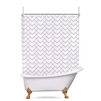 Riyidecor Clawfoot Tub Shower Curtain Extra Wide White 180Wx70 Inch Wrap All Around Polyester Fabric Panel Heart Geometric Striped Chevron Herringbone Waterproof Metal Hooks with 32 Pack