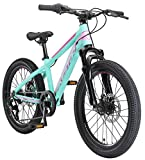 BIKESTAR Bicicleta de montaña Juvenil de Aluminio 20 Pulgadas de 6 a 9 años | Bici niños Cambio Shimano de 7 velocidades, Freno de Disco, Horquilla de suspensión | Menta