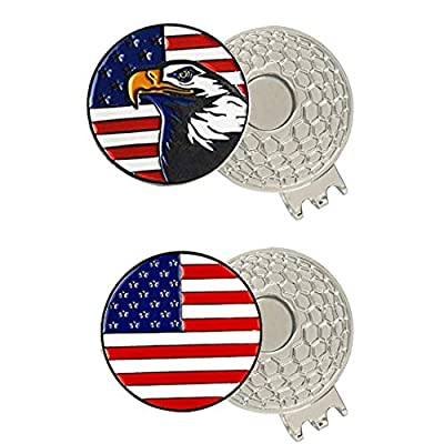 PINMEI Colorful Golf Ball Markers with Silver Color Golf Hat Clips (USA Flag Eagle)