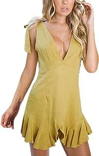 Zohto Fashion Button Women Off Shoulder Lace Up Sleeveless Dress