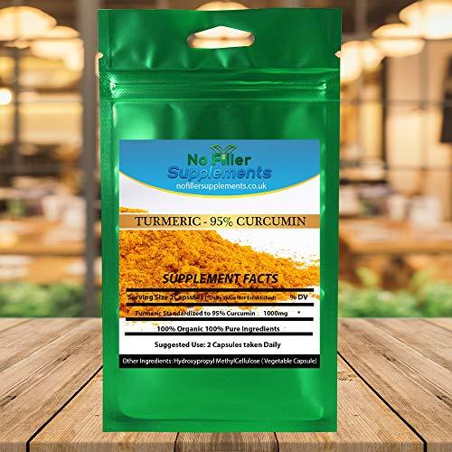 NoFillerSupplements Curcumin 95% Curcuminoids from Turmeric Extract 60 Capsules