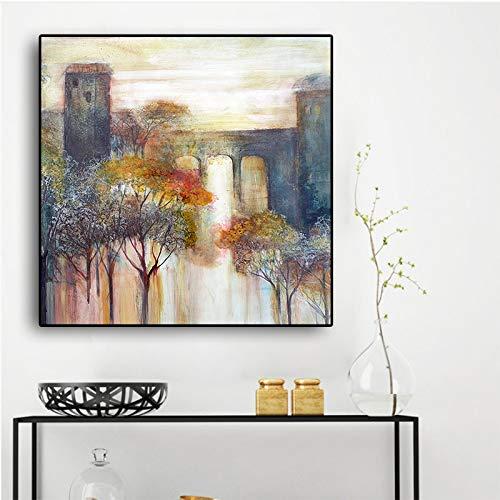 Abstracto árboles y lagos paisaje pintura al óleo sobre lienzo carteles e impresiones pared arte imagen para sala de estar
