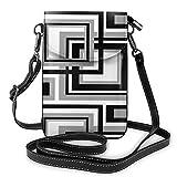 Goxegag Cartera multifuncional de piel para teléfono móvil, bolso de hombro pequeño, bolso de viaje con correa ajustable para mujer, patrón geométrico abstracto cuadrado