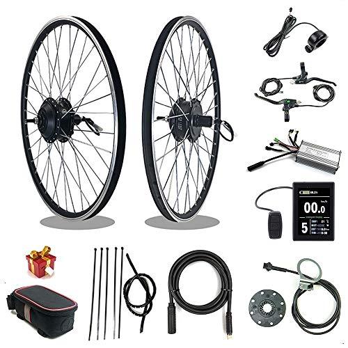 RICETOO Kit de conversión de Bicicleta eléctrica 36V/48V 500W 16' 20''24' 26'27.5' 28'700C Rueda Trasera de Cassette E-Bike Ciclismo Hub Motor con Pantalla KT-LCD8S (48V 500W 24inch)