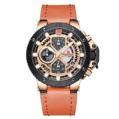 NAVIFORCE Relojes deportivos para hombres reloj impermeable cronógrafo cuarzo cuero fecha negocio relojes