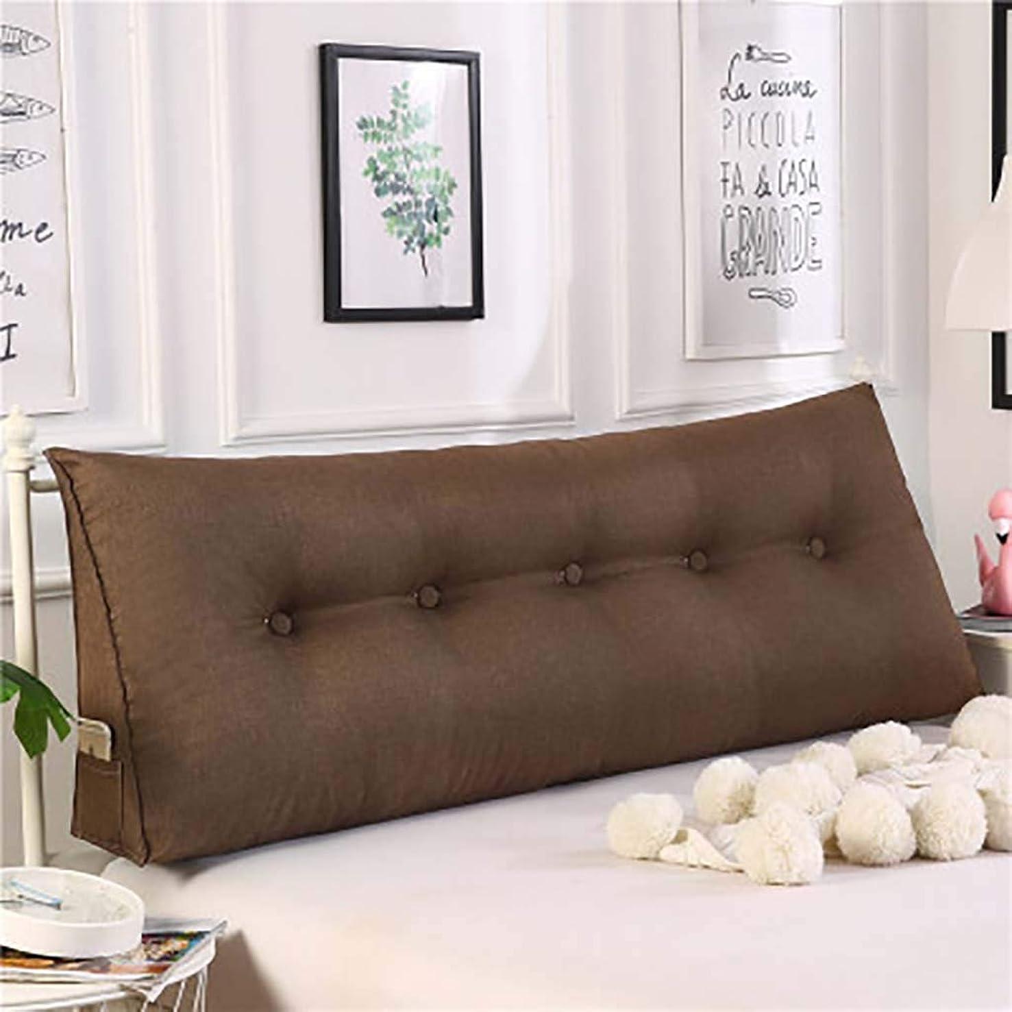 引き付ける発動機マルコポーロ三角 ウェッジ枕,ベッド 戻る クッション,3-次元 ベッド 背もたれ 枕 ダブル ヘッドボード クッション 畳 読ん 背もたれ-コーヒー色 120x50x20cm(47x20x8inch)