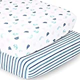 The Peanutshell Nautical & Striped Crib Sheets for Baby Boys or Girls | 2 Pack Set