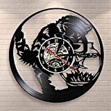 AZDS Gato pesca en el acuario vinilo disco reloj de pared negro gato pesca receptor pared reloj decoración acuario