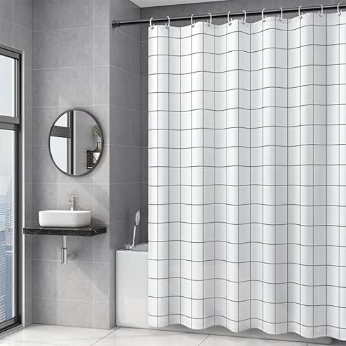 Sosila Duschvorhang Anti-Schimmel Stoff Textil wasserdicht Schimmelresistent Wasserabweisend Anti-Bakteriell Waschbar 100% Polyester inklusive Ringe Duschvorhanghaken (120 x 200 cm, Weiss)