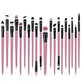 Pinceles de maquillaje profesional, un conjunto de 20 Totalmente sedoso y suave maquillaje de la fibra sintética de Sistemas de cepillo para la Fundación, rubor y Correctores de los ojos,Rosado
