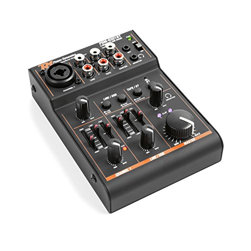 Power Dynamics PDM-D301BT - 3-Kanal-Mixer, USB-Mischpult, Bluetooth, Audio-Streaming, Phantomspeisung, Stereo- und Mono-Eingangskanal, 2-Band-Equalizer, Master-Regler, Gain-Regler, schwarz