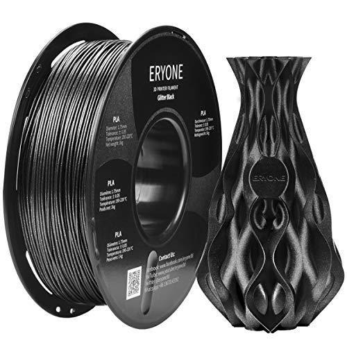 Filament PLA 1.75mm Sparkly Black, Glitter Black, ERYONE PLA Filament For 3D Printer and 3D Pen, 1KG, 1 Spool(Black)