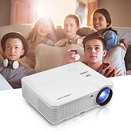 Portable LCD Projector 4800 Lumen,HDMI Home Theater Projector Support 1920x1080p Video Keystone Digital Zoom Large Display for Indoor Outdoor Movie Gaming Laptop USB Drive PS4 PC AV Audio VGA