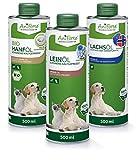 AniForte BARF Oil Set 3 con 500ml cada uno de aceite de salmón, aceite de linaza y aceite de cáñamo - producto natural para perros y gatos, aditivo para piensos, envases reciclables sin BPA