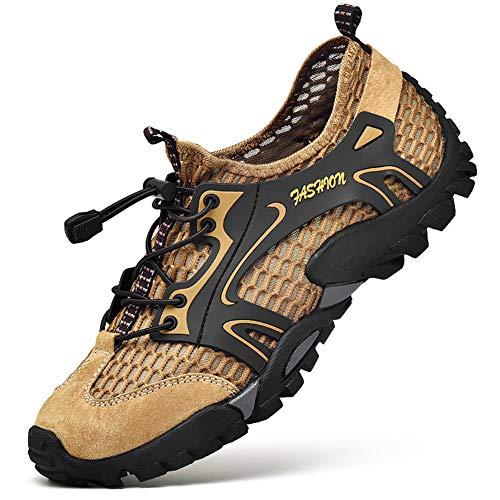 CCZZ Herren Wanderschuhe Trekkingschuhe Super Anti-Rutsch Atmungsaktiv Barfußschuhe Schnell Trocknend Badeschuhe Leicht Outdoor Fitnessschuhe Hiking Sneaker Braun 42 EU