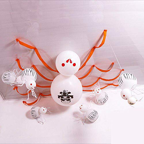 Halloween Spider Balloon Decoration Kit Wall door Ceiling Decoration Supplies Suitable for Birthday DIY Theme Party Bar Haunted House (white) -  Qchen