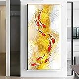 Pez Koi Feng Shui Carpa Lotus Pond Imágenes Óleo sobre lienzo Pintura Arte Carteles e impresiones Im...