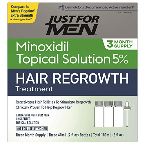 Just for Men 5% Minoxidil Extra Strength Hair Loss Regrowth Treatment for Men, Topical Solution, Includes Dropper Bottle, 3 Month Supply
