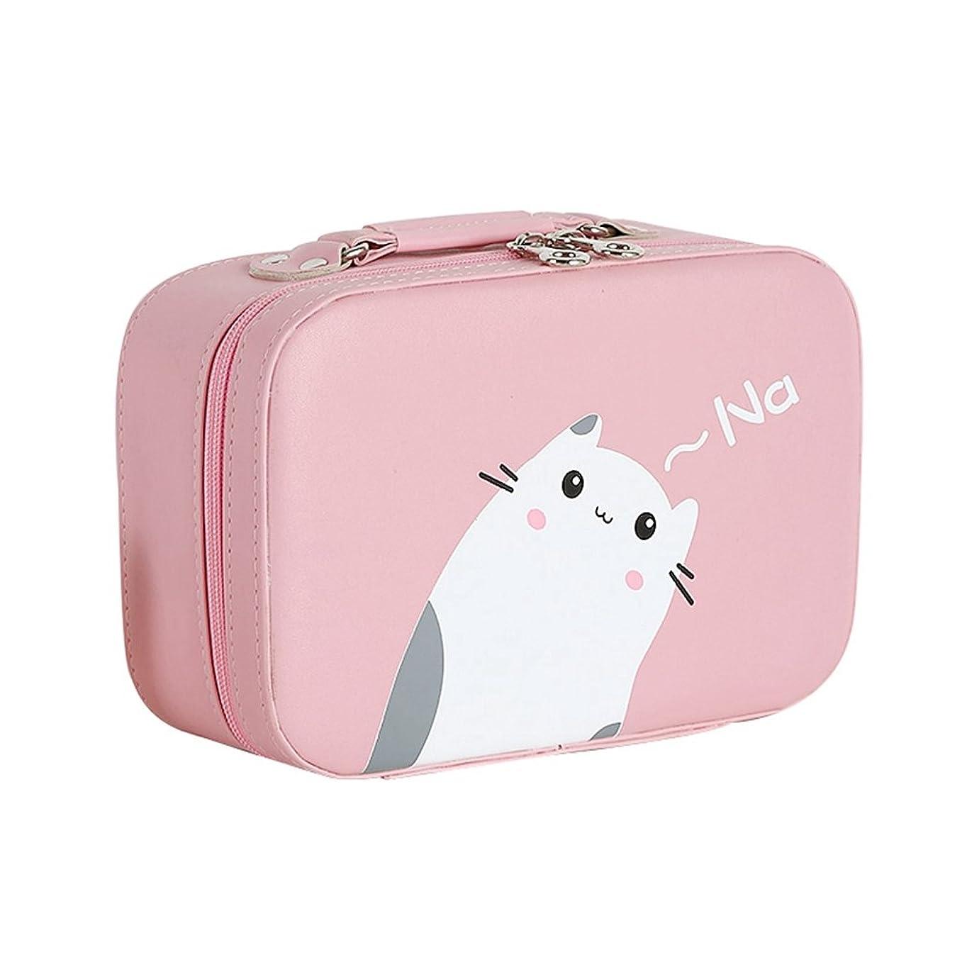 叫び声荒れ地最初は店舗]化粧ポーチ 大容量 機能的 猫柄 11選択 メイクポーチ 化粧ボックス バニティーケース 仕切り 鏡付き ブラシ収納 取っ手付き ダブルジップ 撥水加工 かわいい おしゃれ 軽量 女性