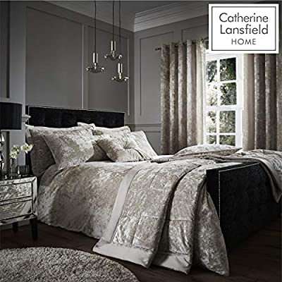 Catherine Lansfield Crushed Velvet Natural Duvet set