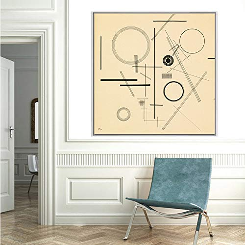 yhyxll Wassily Kandinsky In The Black Circle (Black Relationship) Classic Art Poster Canvas Painting Wall Art Pictures for Living Room E 40X40CM