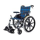 MinMin Manueller Rollstuhl Alter Roller behinderte Reise manueller Aluminiumlegierungsrollstuhl - tragendes 75kg Blau Medizinische Ausrüstung -
