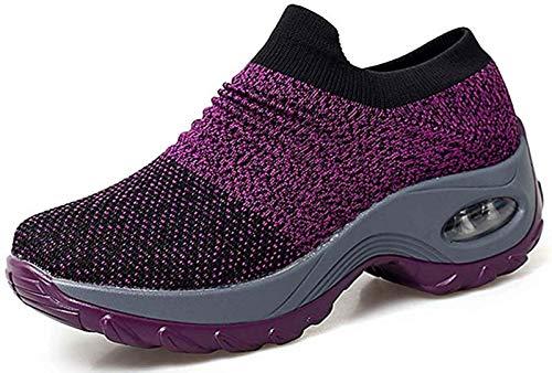 Sneakers Zeppa Donna Scarpe da Ginnastica Basse Corsa Sportive Fitness Running Mesh Air Scarpe Estive Primavera Casual All'Aperto Gym,Viola,41 EU