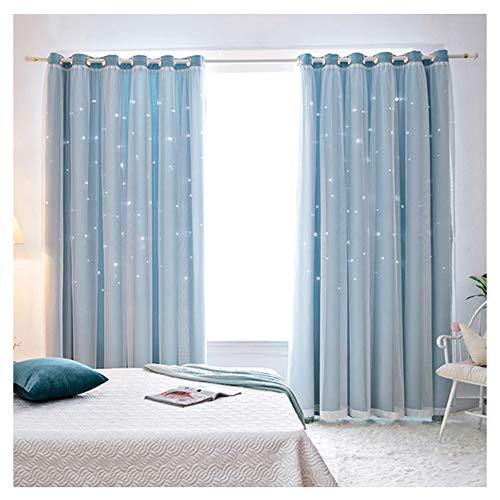 Gecheer Raumverdunkelungsvorhänge, 2 Stück, Fenstervorhänge, durchscheinend, ausgehöhlte Sterne, Schattierungsvorhang, Purdah für Zuhause, Wohnzimmer, Schlafzimmer (blau – 1 m x 2 m)