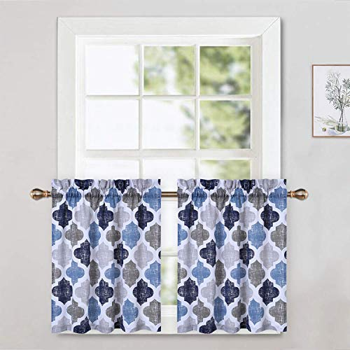 CAROMIO Cafe Curtains 36 Inch Length with Valance, Quatrefoil Trellis Printed Cotton Blend Short Farmhouse Kitchen Curtains Bathroom Window Curtains, Navy/Blue/Grey