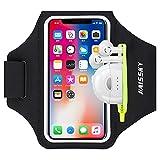 HAISSKY Sportarmband Mit Kopfhörer Tasche Sportarmband Handytasche Sport für iPhone 12 Pro/11/11 Pro/XR/XS/X/8 Plus/7 Plus/8/7/6s/6,Huawei P20 Pro/P30 Pro/Mate 20 Xiaomi,LG Handyhülle Running Armband