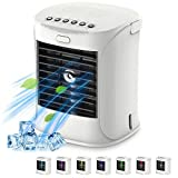 4 in 1 Portable Air Conditioner, Portable Air Cooler/USB Fan/Purification Humidifier /7 Night Lights with Handle 3 Speed Adjustable Quiet Misting Desk Fan for Home Bedroom Kitchen (White)