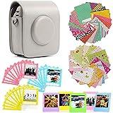 Jinshen Kit de accesorios de cámara premium para FujiFilm Instax Square SQ20 con funda de cámara/pegatinas de bordes, marcos de plástico/bolsa de encaje de fotos (blanco grisáceo)