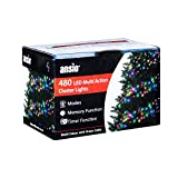 ANSIO Cluster Lights 480 Multicoloured Outdoor Christmas Tree Lights LED Fairy Lights (6m / 20ft Lit Length) Multi-Action Mains Operated Green Cable - Indoor & Outdoor