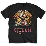 Queen Classic Crest Camiseta, Schwarz/Schwarz, XXL para Hombre