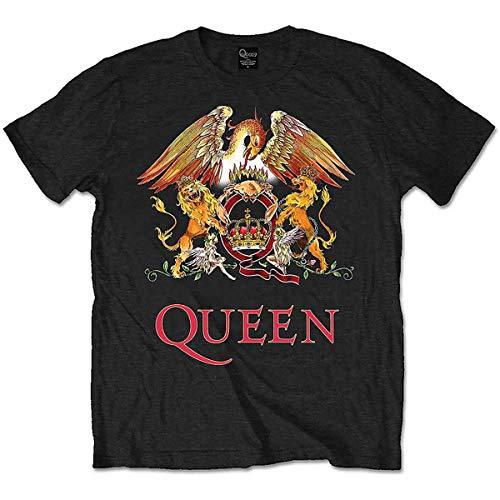 Queen Classic Crest T-Shirt, Nero (Schwarz-Schwarz), S Uomo