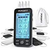 POHAKU 4 Outputs TENS Unit Muscle Stimulator for Pain Relief, Rechargeable TENS EMS Machine of Electric Stimulator Physical Therapy with 24 Modes, 10 Electrode Pads and Large LCD Screen