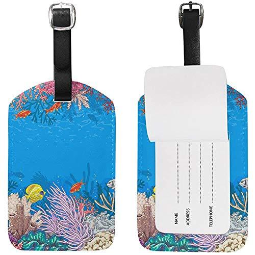 Tropical Ocean Sea World Fish Coral Etiqueta de Equipaje acuático Equipaje de Viaje Maleta Etiqueta Cuero 1PC